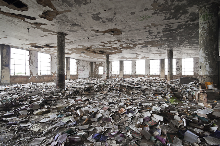 abandoned, building, books,